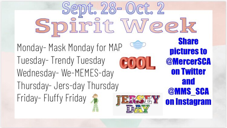 Join us for our 1st Spirit Week of the school year next week!!! All the days are below! Tag us here or on Instagram @MMS_SCA ! Can't wait to see everyone dress up and participate! @LCPS_Mercer #ROARasONE #SpiritWeek #VirtualSpiritWeek #StudentCouncil https://t.co/1ktULX7k5R