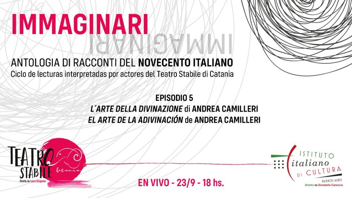 """Mañana a las 18:00h el ciclo #Immaginari nos acompaña a lo largo del cuento de #AndreaCamilleri """"El arte de la adivinación""""...reserven sus lugares! 👉https://t.co/YKgEFs4FqY @ItalyinARG @TeatroStabile  @ItalyMFA #Istitutonline https://t.co/VO7OzsBlr3"""