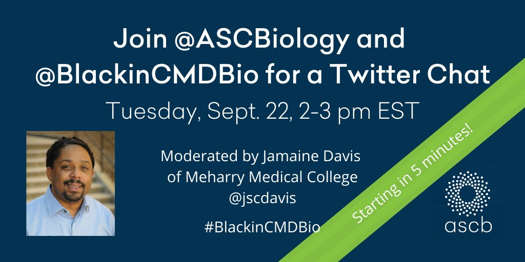 We are just about to start our Twitter chat with @BlackinCMDBio  and @jscdavis ! Stay tuned for instructions and our first question at 2pm EST. #blackincmdbio #blackinstem #blackincellbio https://t.co/vWtAOlDJXS