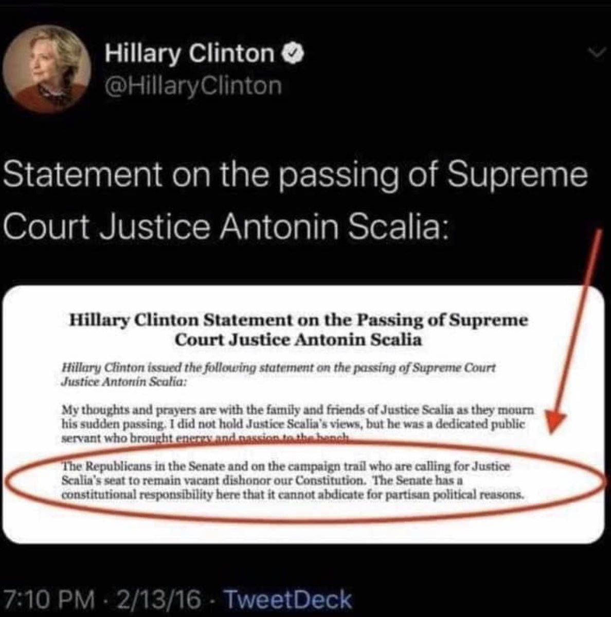 @HillaryClinton's words on SCOTUS during an election year 4 years ago.  The Supreme Court pick will be decided before Nov 3rd as per Article II, section 2. Not by Joe Biden. Not by Hollywood. Not by those threatening violence on Twitter. https://t.co/9YCAV1j4Ow
