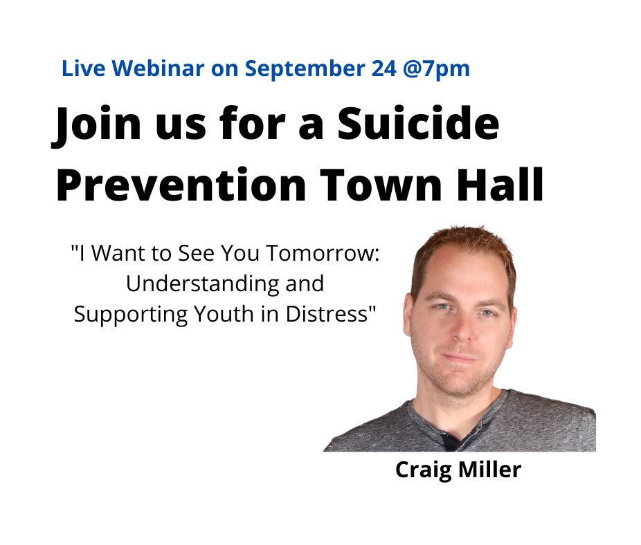 """""""We need to continue learning everything we can about the suicidal mind, but we cannot overlook the need to understand the suicidal heart."""" From author and suicide attempt survivor Craig Miller, speaker at our virtual town hall on Thursday. Register here: https://t.co/tHECfWXZ1t https://t.co/5GzyVivWm2"""