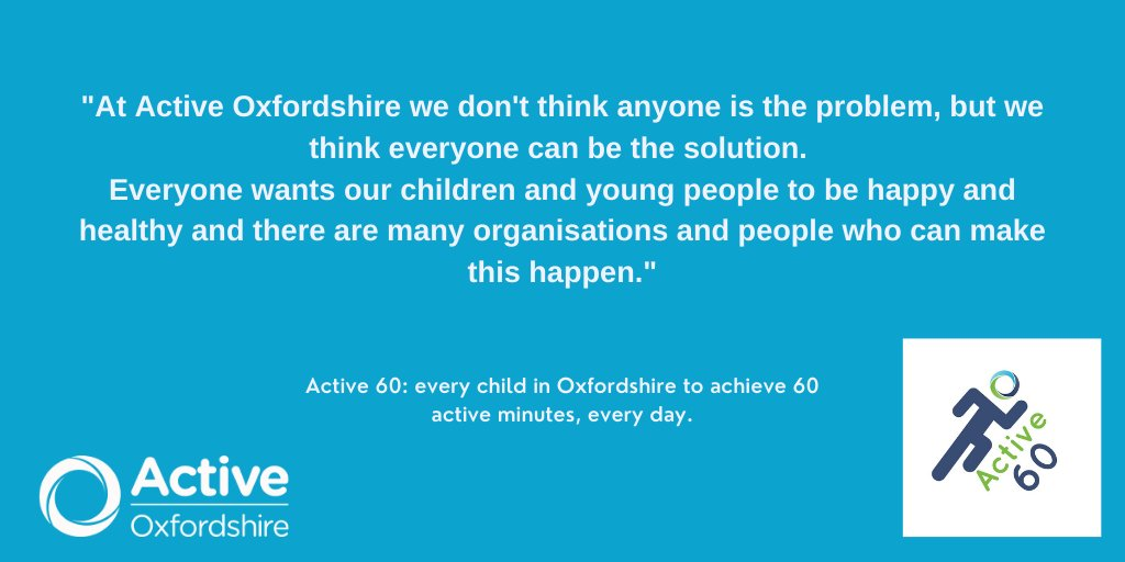 One of Active Oxfordshire's 10 ambitions is for every child in the county to have 60 active minutes a day. Active Oxfordshire's @joshlenthall explains all on the new #Active60 campaign. Read more here: https://t.co/3I2hjGDMrD @ActivePartners_ @LetsPlayBanbury @HealthyOxon