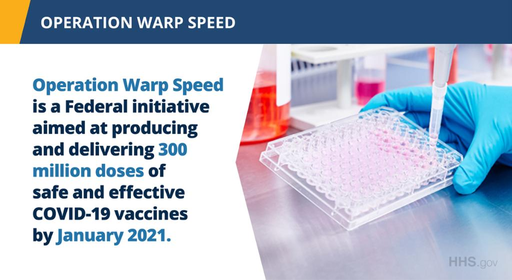 #OperationWarpSpeed is working to accelerate the timeline for producing a safe and effective #COVID19 vaccine while adhering to essential standards for safety and effectiveness. Stay up to date on the latest news: https://t.co/KqtcQtlYOO #OWS https://t.co/GbwSKelj9W