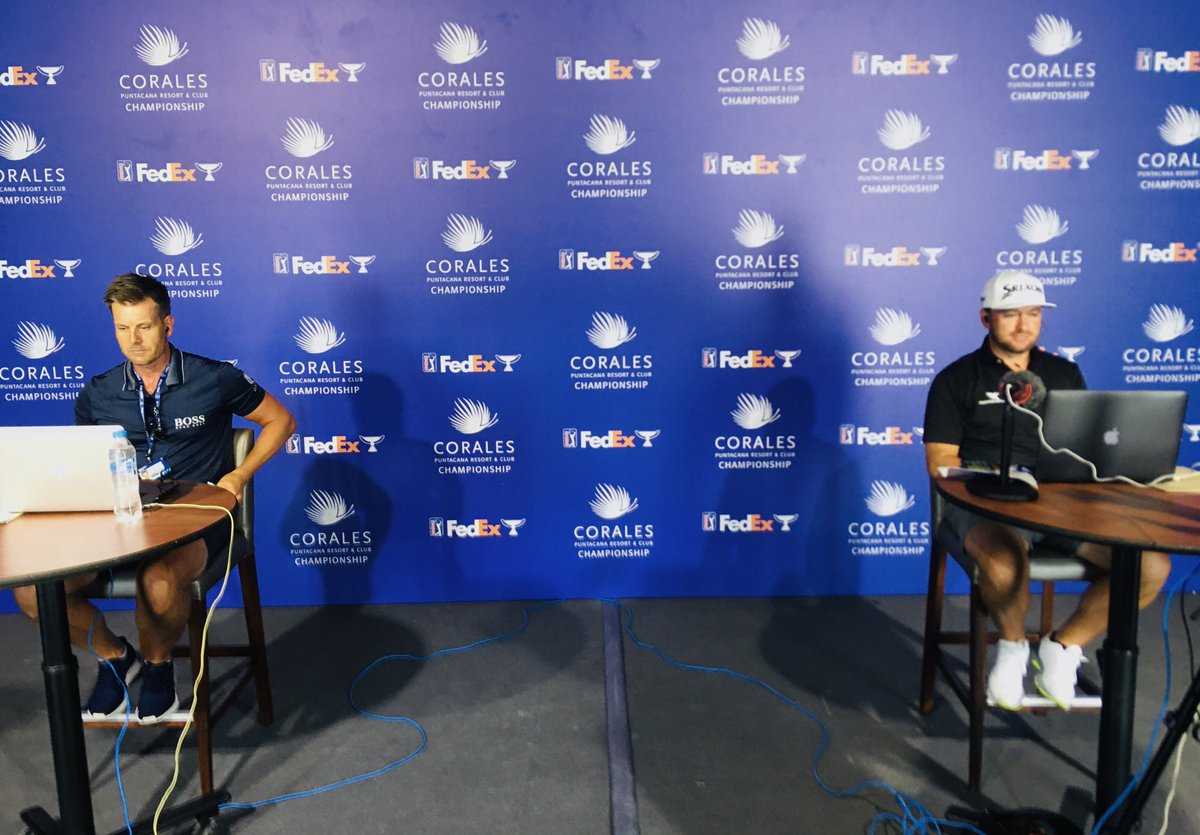 Ready for the welcome press conference at the @CoralesChamp with defending champion @Graeme_McDowell and 2013 #FedExCup champion @henrikstenson along with tournament officials in a separate location https://t.co/eqjAR5OLlG