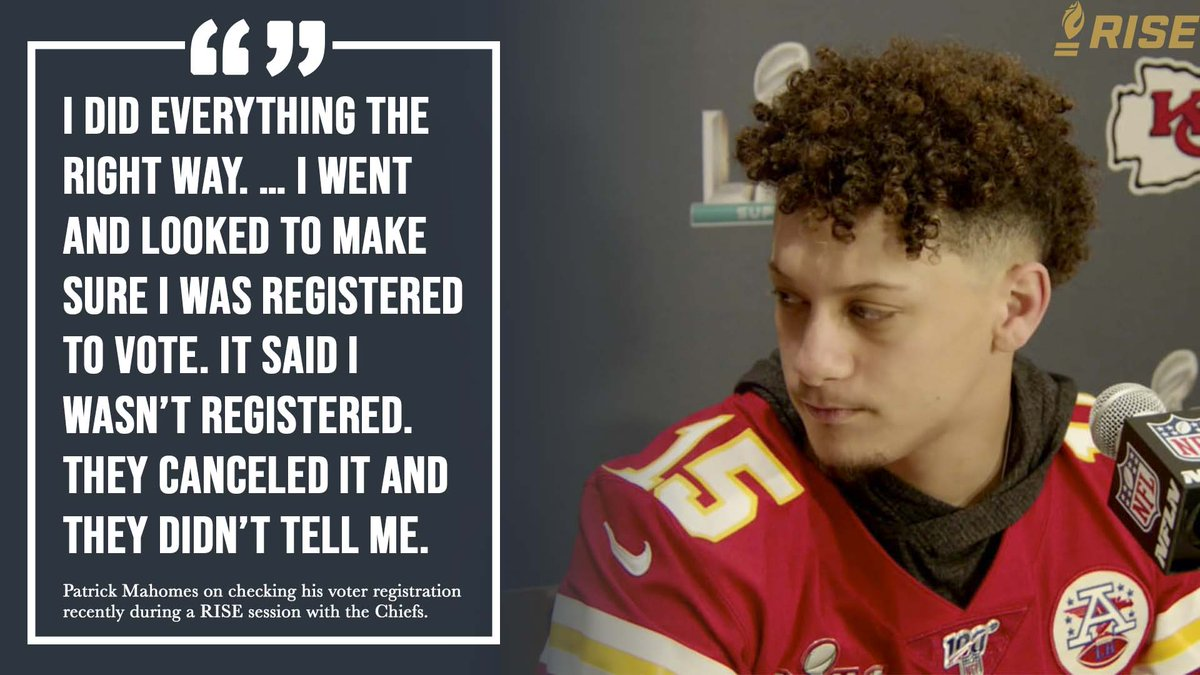 If you previously registered to vote or registered today, its important to verify your status! During a recent RISE session, @PatrickMahomes talked to his teammates about how his registration was initially rejected. Check your status at risetovote.turbovote.org.