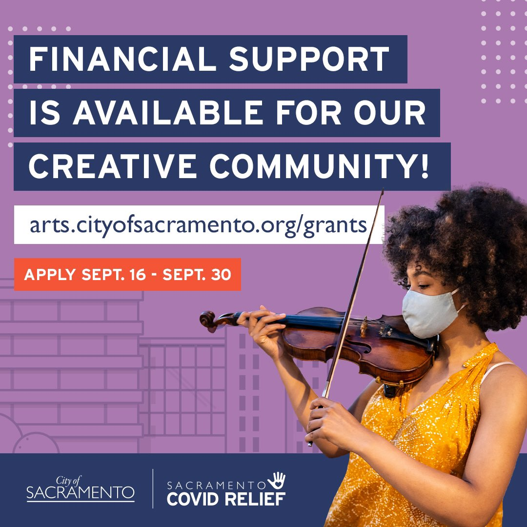 Applications are open! @SacCityArts has grants available for artists and cultural organizations who have been impacted by the COVID-19 pandemic. Apply between Sept. 16-30 at https://t.co/F2w4tzCA8i 🎭🩰🎨🎬🎼 https://t.co/gyGD6dXCIG