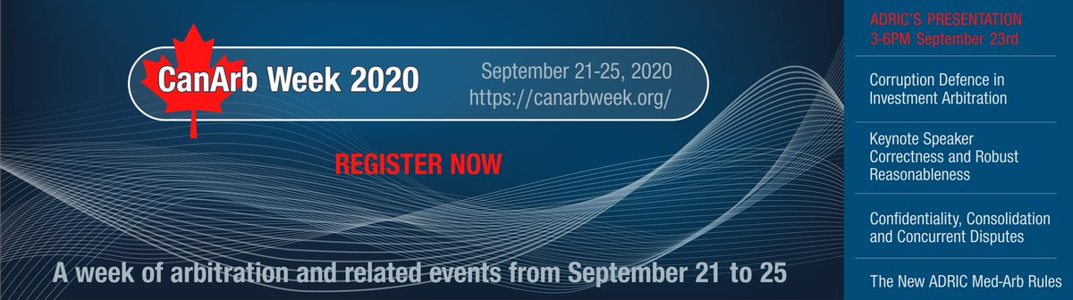ADR Institute of Canada is delighted to be a Presenting Organization in the inaugural CanArbWeek!   ADRIC will be presenting its sessions for CanArbWeek on Wednesday September 23, 2020 from 3:00-6:00 PM ET  See the full program: https://t.co/zBI4TyMFYS https://t.co/pIGd7TFwXz