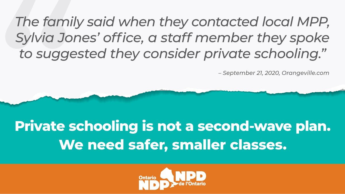Telling parents who have been forced into a terrible position by Ford's refusal to fund #SmallerSaferClasses that they should send their children to private school is truly appalling.  Mr. Ford, is your Ontario for everyone, or just your rich, connected friends?  #SmallerIsSafer https://t.co/tSfzsLr9av