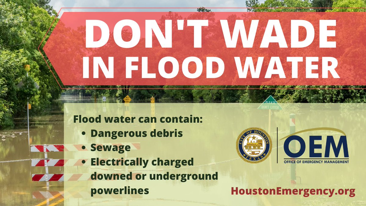 Avoid wading in floodwater, which can contain dangerous debris, downed power lines, and sewage.  Wash your hands and body if you come in contact with #flood water.   Visit https://t.co/SUzFwYsy1q for more flood safety tips.   #Beta #HouWX #HouNews #FloodSafety https://t.co/RoQeIfGix4