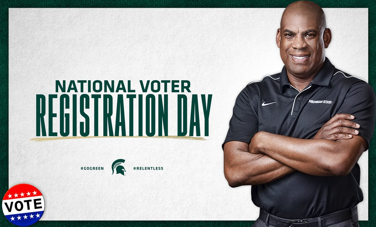 #NationalVoterRegistrationDay   Get registered or update your voter registration with the link below. No matter your party affiliation, it's important to have your voice heard. #GoGreen  👇🏾 👇🏾 👇🏾   https://t.co/9Zuyh3d4rK https://t.co/tP1HDX6IDu