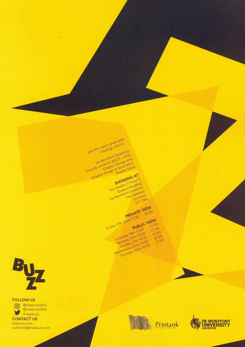 Check out this eye-catching branding from our #Buzz Degree Show 2016! Another one from our old studios in the Queen's Building, before Roxanne, before Brexit... Big shout-out to all the 2016 alumni, still making a Buzz 4 years on! 🐝🐝 #virtualstudiodmu #classof2016 #memories https://t.co/nnGFep2Qk0