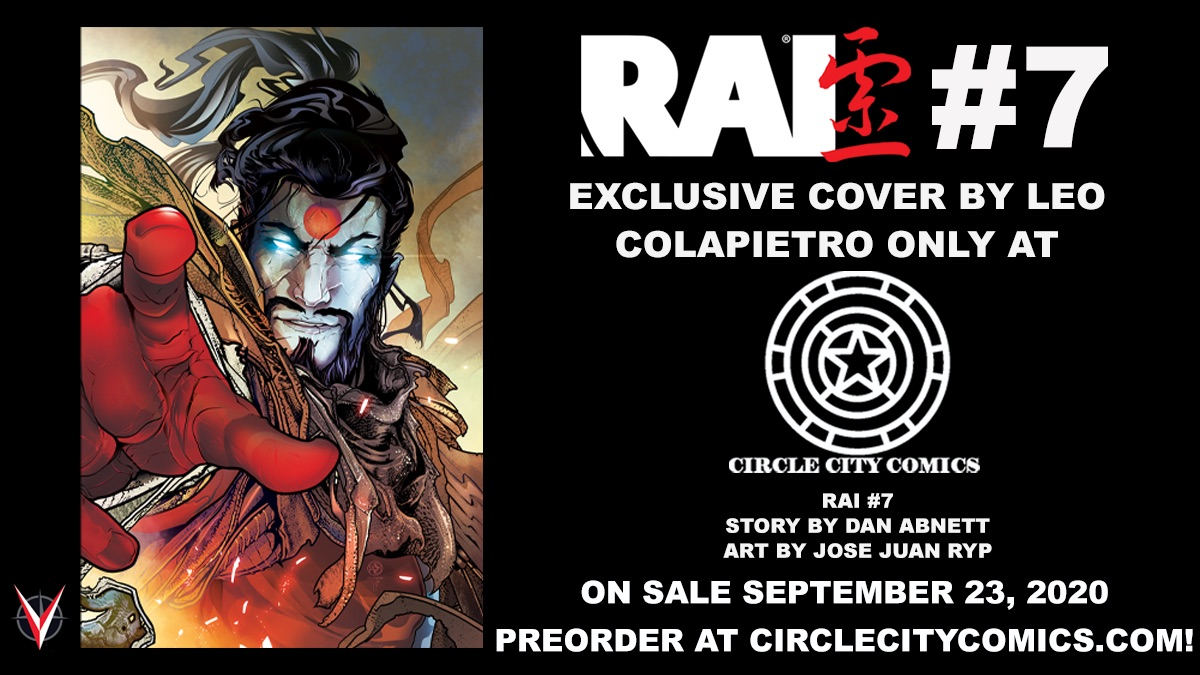 This #NCBD comes RAI 7 and the amazing folks at @CircleCityComix have an epic store exclusive by @LeoColapietro!   Head to https://t.co/0SW6LQiuO6 to get your copy before both the main and virgin variant sell out!  #stayvaliant #exclusive https://t.co/v4ckTJ2Ehn