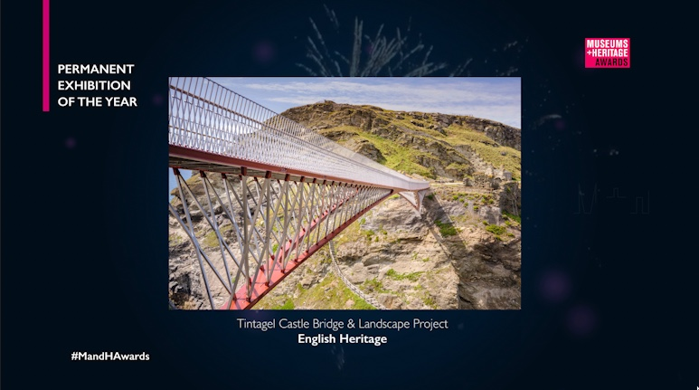 """#MandHAwards: Winner, Permanent Exhibition of the Year … @EnglishHeritage for Tintagel Castle Bridge and Landscape Project - """"extraordinary, bewitching and beautiful enabling the genuine story of place to be told in an astonishingly original way"""" https://t.co/SjINV0O3Ds"""