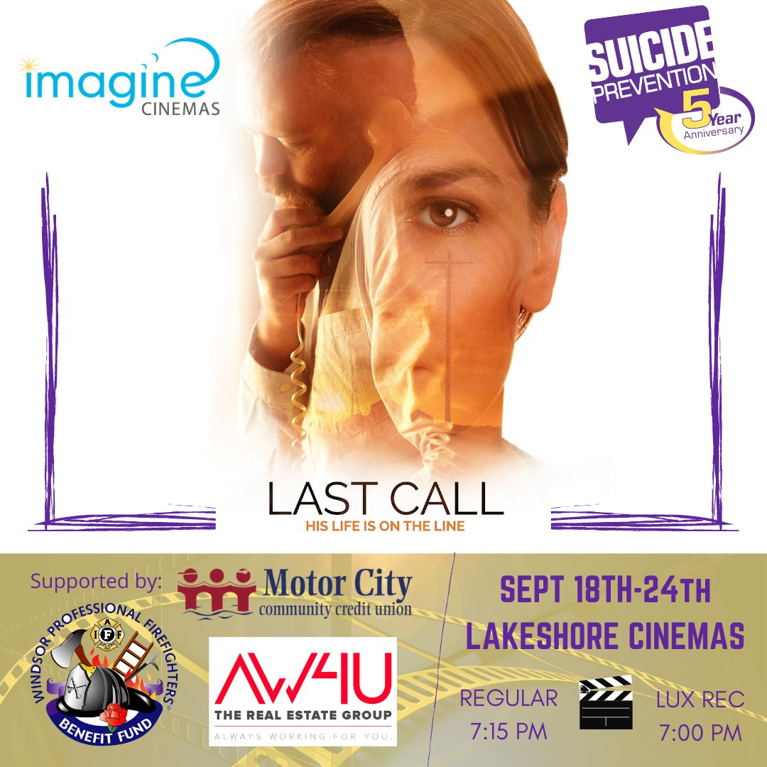 test Twitter Media - It's not too late to catch @lastcallonetake on the big screen in select Imagine Theatre Cinemas, including the Lakeshore location. Playing until September 24!  Thank you to our sponsors: @MotorCityCCU @windsorfire Benefits Fund and AH4W!  #suicideprevention #youarenotalone #film https://t.co/ldJLk8d71b