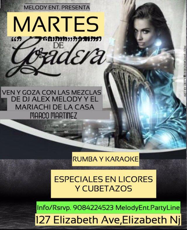 #KUCARAMAKARA Y #MELODYENT #MARTES DE GOZADERA #MUSICA CROSSOVER Y #KARAOKE  #MUSICA POR #DJALEXMELODY  #MARIACHI DE LA CASA, #MARCOMARTINEZ Y SU REPERTORIO DE RANCHERA 908-422-4523MelodyEnt.PartyLine #KUCARAMAKARALOUNGEBAR #127ElizabethAve,ElizabethNj https://t.co/JuJqef1qz5