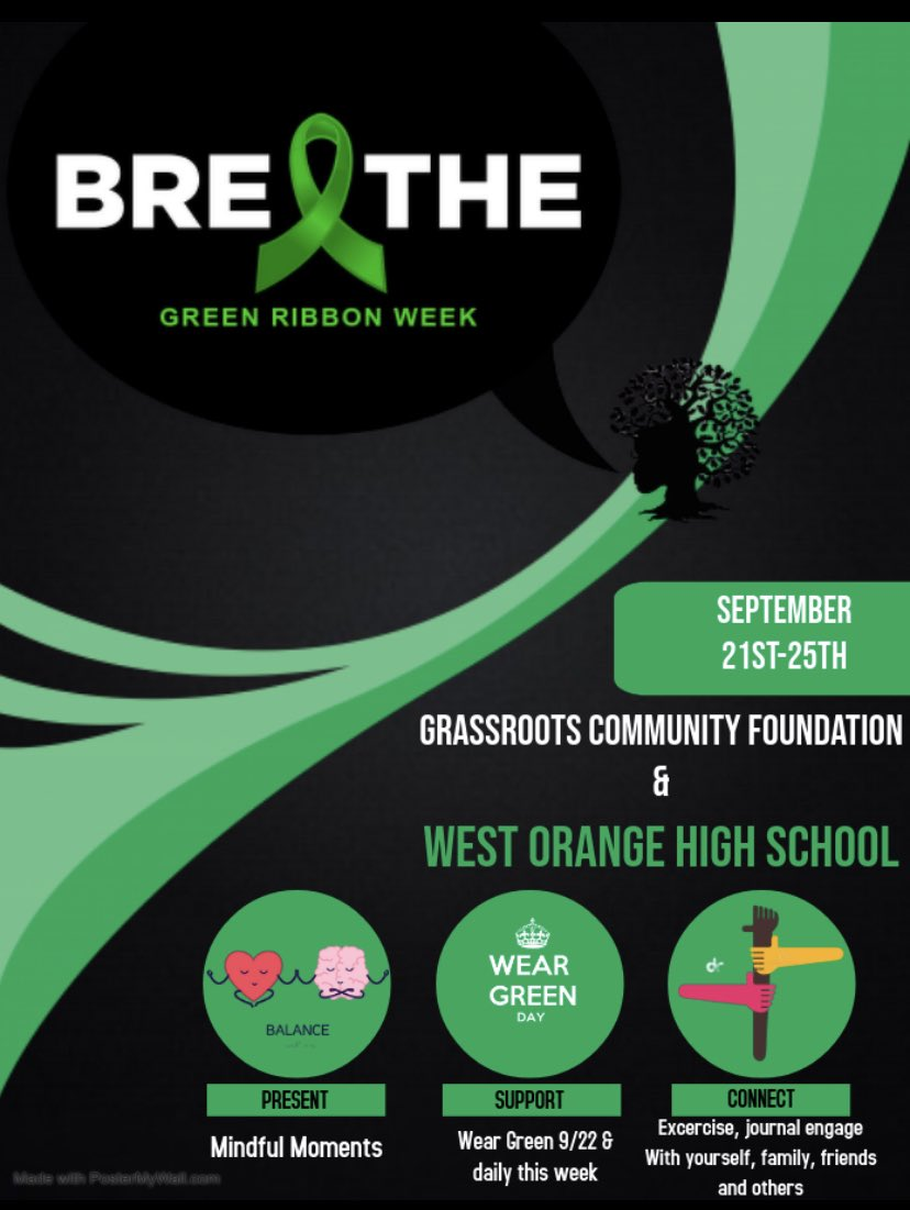 It's officially #GreenRibbonWeek! This is the perfect time to become more knowledgeable on youth mental health.   @GrassRootsFound @woschools #studentcouncil https://t.co/4jUrAwn8lF