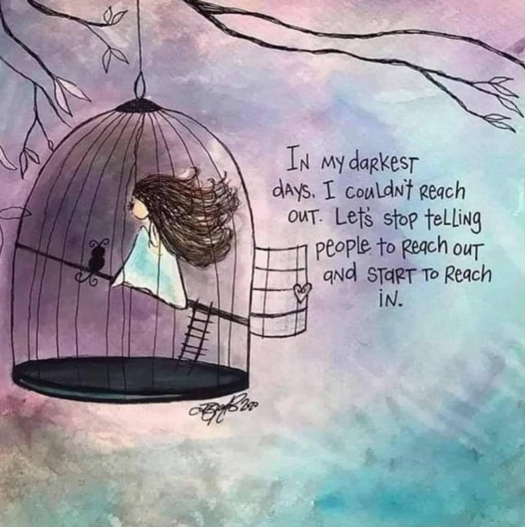Sometimes we need to reach in as reaching out for help sometimes is a little too hard #KindnessMatters #ItsOkayNotToBeOkay #SuicidePrevention #SuicideAwareness https://t.co/IROTjYTSDa