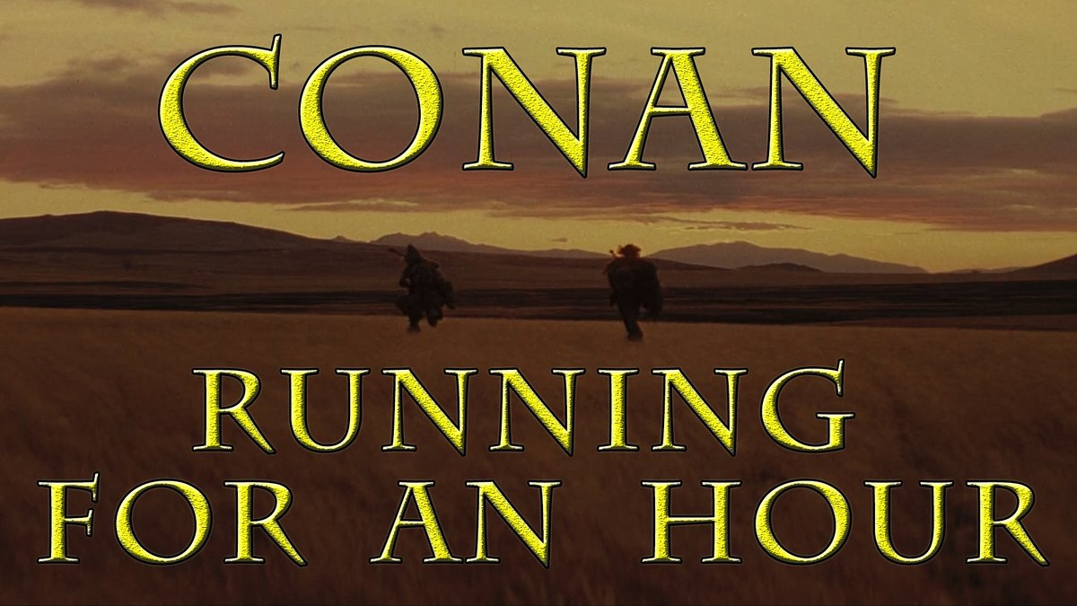 Behold the world premiere of Conan and Subotai running for an hour!  Share the link with friends! Chat live!  https://t.co/c1c7vqSXCm  #CONAN #ConanTheBarbarian #WorldPremiere #TuesdayMotivation #SupportSmallStreamers #firstdayoffall #runningmotivation https://t.co/j1l1jJ7TIA