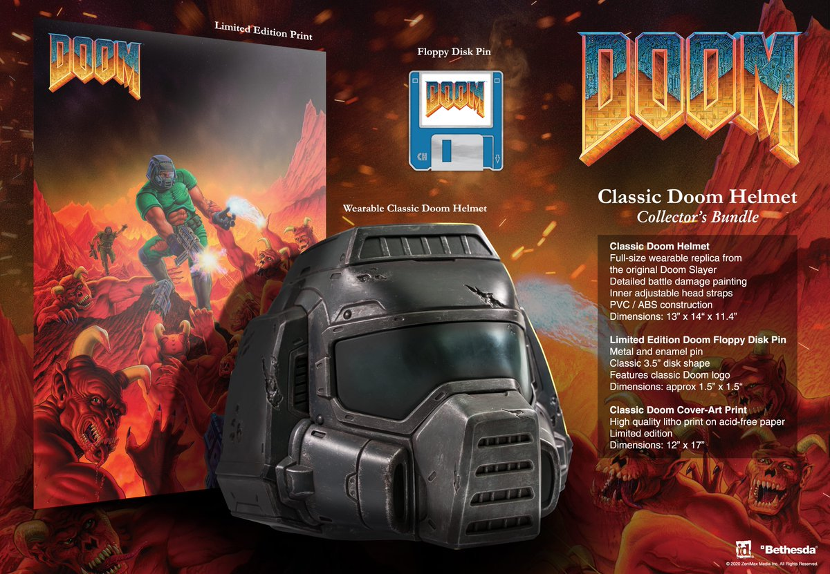 Alright, everyone. It's your chance to win a Classic DOOM Helmet Collector's Bundle before they go on sale tomorrow!  All you have to do is follow @DOOM & @LimitedRunGames, retweet this, and reply with your favorite DOOM memory.  We'll draw a winner today at 6pm ET. GLHF!