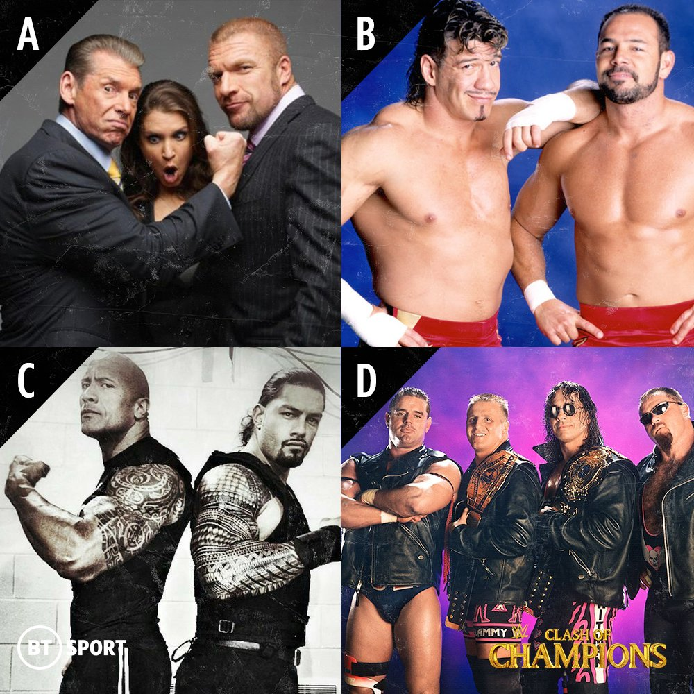 If you could be part of one wrestling dynasty, which would you choose?  A. The McMahons B. The Guerreros C. The Anoaʻi/Maivias D. The Harts  #WWEClash https://t.co/WnApFi2Uyn