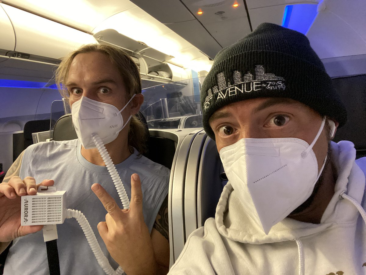 Our boy @JayMewes just started a  12 hour stream at his @Twitch channel! Watch it here: https://t.co/U8Xejvegn8 In the next hour, @BrianCOHalloran joins Jay for some Lego-making madness! (Photo: This was what we looked like flying to Jersey. Jay bought a fan-filter for his mask.) https://t.co/kNJCdYT1Mm