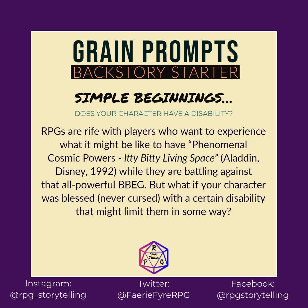 Grain Prompts - Backstory Starter Simple Beginnings . . . Does your character have a disability?  #rpg #rpgcharacter #disability #ttrpg #characterdesign #characterbackstory #characterbuilding #character #writers #writer #dm #dndcharacter #disabledlivesmatter #dnd #warhammer https://t.co/hHhyzrw8Jl