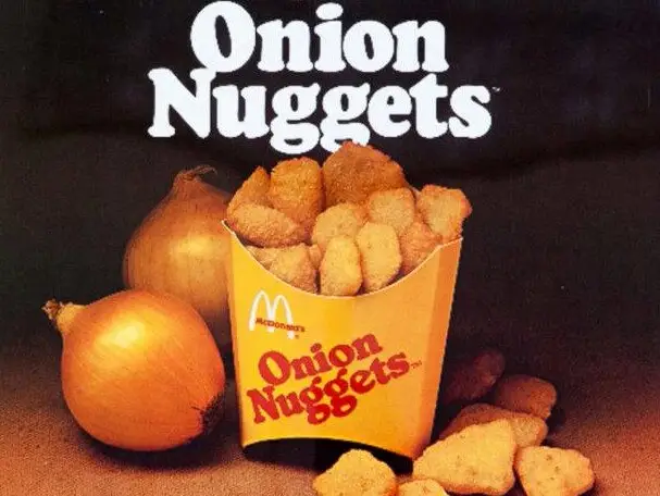 Introduced in the 1970s, McDonald's onion nuggets were clumps of diced onions that were breaded and fried à la chicken nuggets. They didn't make it past the test market stage, and their successor — the Chicken McNugget — went national in 1983. #POPCulture https://t.co/1303qGwKvr