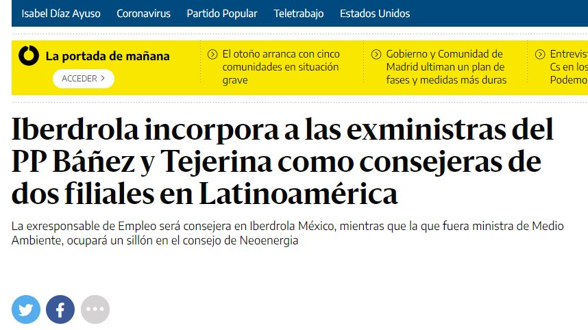 ¿POR QUÉ SUBE LA #LUZ EN ESPAÑA Y EXTRANJERO? EN EL #PSOE Y EN EL #PP HAY EX MINISTRAS A LAS QUE LES VAN LAS #SILLASGIRATORIAS.: VAN A LAS #ELECTRICAS A HACER #LOBBY Y A IMPULSAR #LEGISLACION CONTRA LA LIBRE #COMPETENCIA Y EL #AUTOCONSUMO Y A IMPONER POLÍTICAS DE PRECIOS ABUSIVAS https://t.co/oaJpsw4lm3