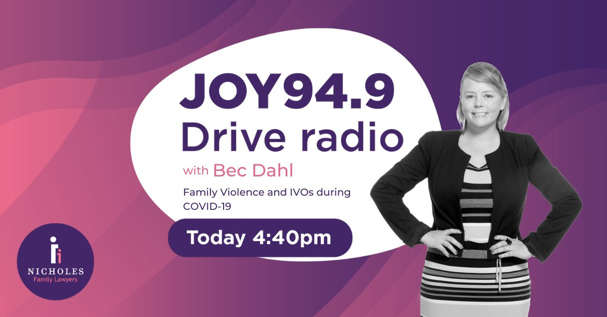 Tune in today at 4.40pm, when @nicholes_law Partner, @becfamilylawyer speaks with the @JOY949 Drive team, discussing #familyviolence and IVOs (Intervention Orders) during #COVID19. For more info on this topic: https://t.co/NCBqwKBglZ @deemason1 @Warren_Joy949 #familylaw #auslaw https://t.co/773mKuG5E7
