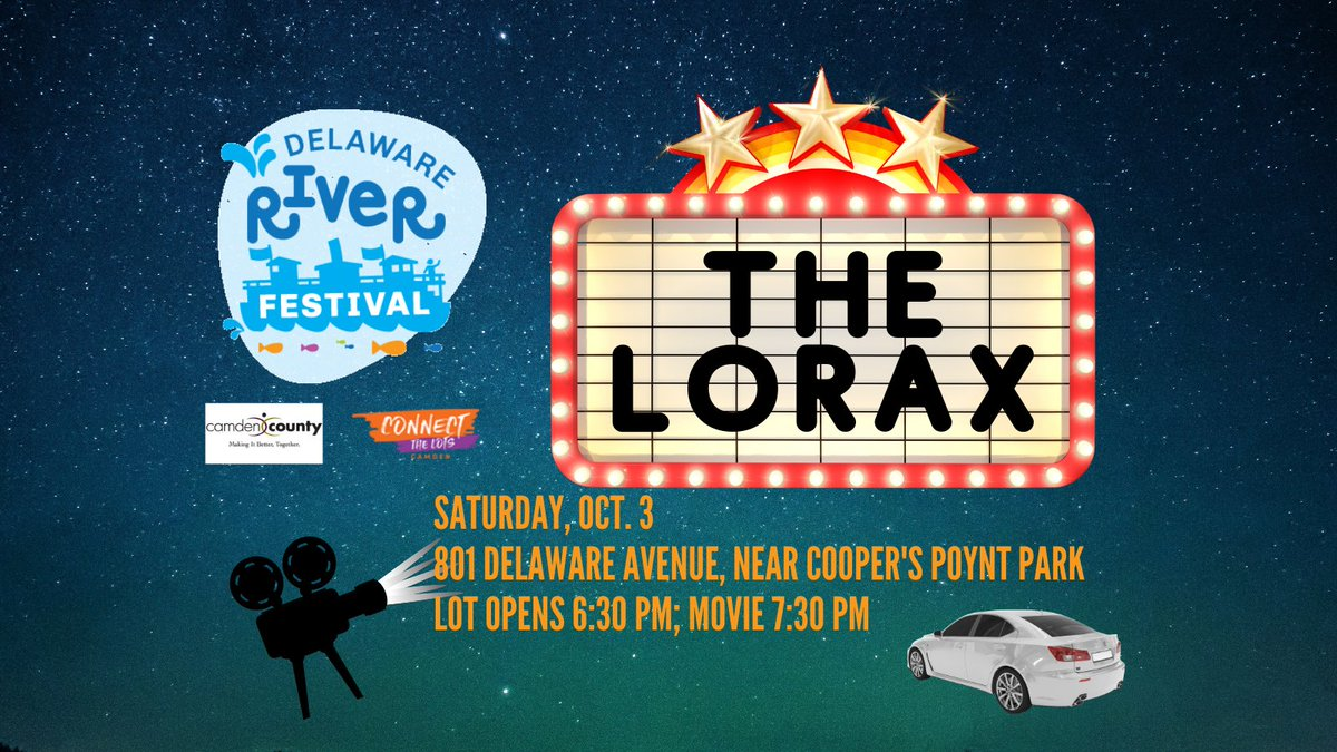 """""""Unless someone like you cares a whole awful lot, nothing is going to get better, it's not.""""  Watch the Lorax at our Drive-in Movie Night. Preregistration required. https://t.co/Nj2xDGJFpw  #drivein #fall #camden #fallactivities #lorax #drsuess @camdencountynj @CtLcamden https://t.co/rlpgfUmAbF"""