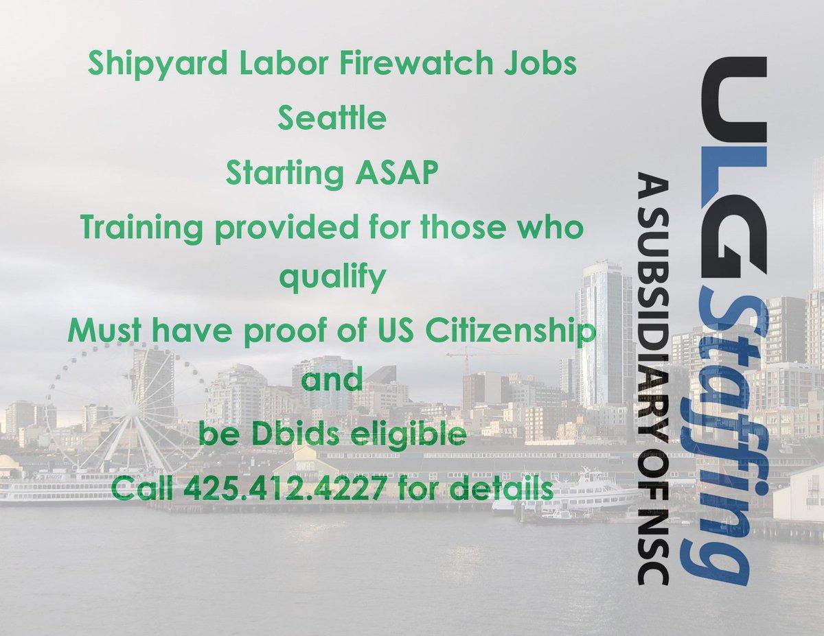 We are #hiring in #Seattle https://t.co/eM9Yv31DNz   #shipyard #firewatch https://t.co/FRUIH8lkJA