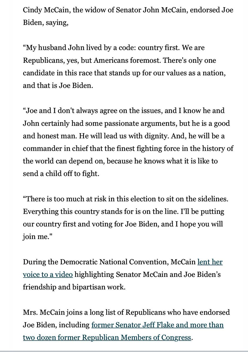 """Joe and I don't always agree on the issues, and I know he and John certainly had some passionate arguments, but he is a good and honest man. He will lead us with dignity."" - @cindymccain formally endorses @JoeBiden. Full statement: https://t.co/pQmphhkvDj"