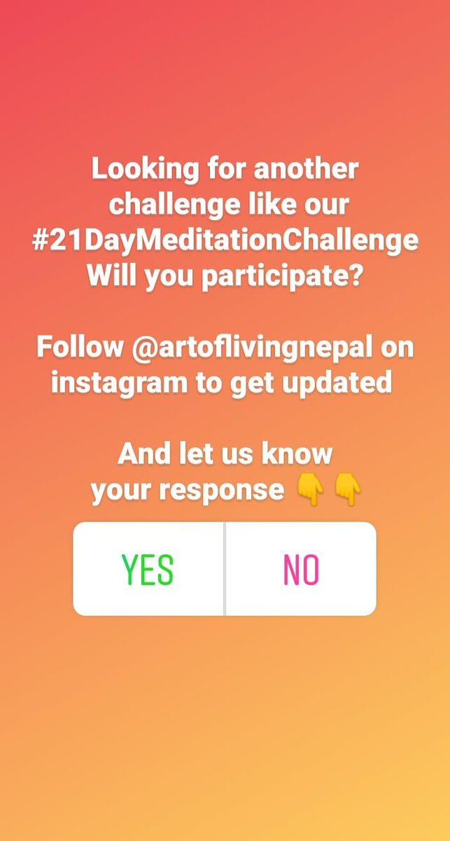 Looking for another #Challenge like #21DayMeditationChallenge ?   Respond us on our #Instagram by Following us on @artoflivingnepal and responding to our #insta story   Link for our @instagram #InstaStory   https://t.co/5AItwY2JlB  @ArtofLiving #Nepal https://t.co/DLDF3u8Vet