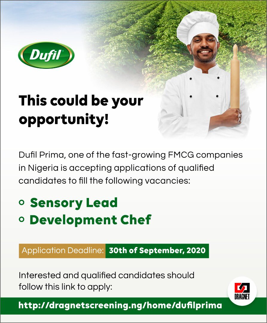 Applications are still open for interested and eligible candidates.  Kindly click here- https://t.co/8REaYvxTQc to apply.  #wearehiring #dufil #dragnet #experiencedhires #chef #sensorylead #Newsnight #Lockdown2 @DragnetNigeria https://t.co/bvFYY9rBgm