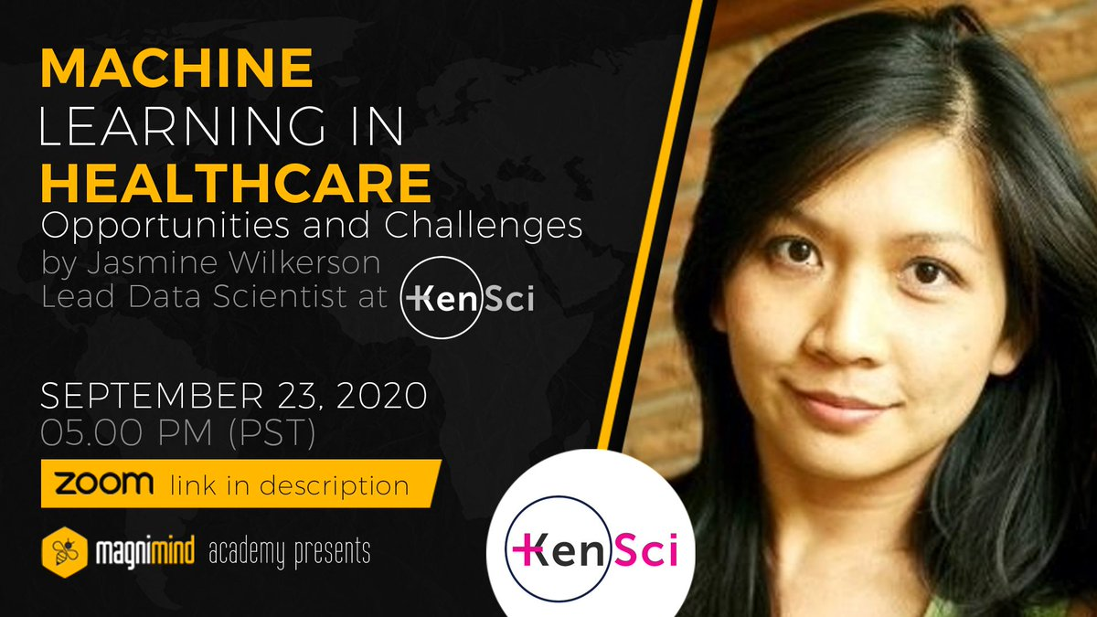 "Jasmine Wilkerson will be with us tomorrow to talk about ""Machine Learning in Healthcare - Opportunities and Challenges"". https://t.co/jrIh5TO3fI  #online #machinelearning #datastructure #healthcare #digitalhealth #futureofml #datascience #magnimindacademy https://t.co/eGBY5AOyiJ"