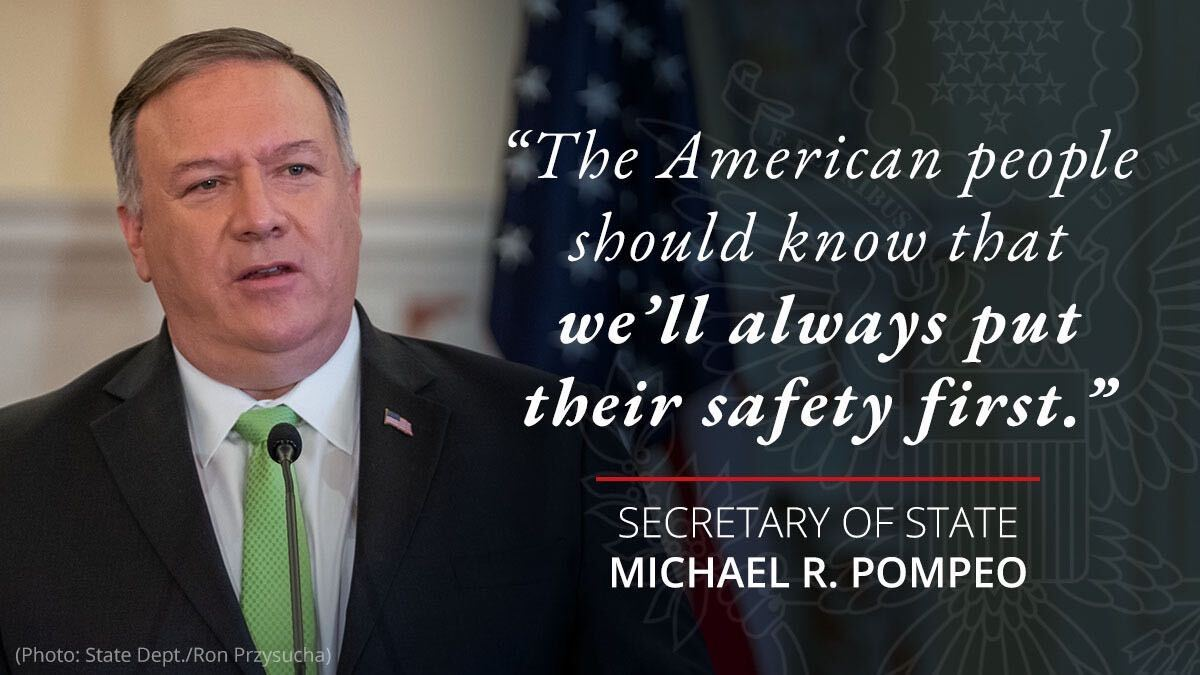 .@SecPompeo on Iran: The American people should know that we'll always put their safety first. https://t.co/r0OnC0kW2P