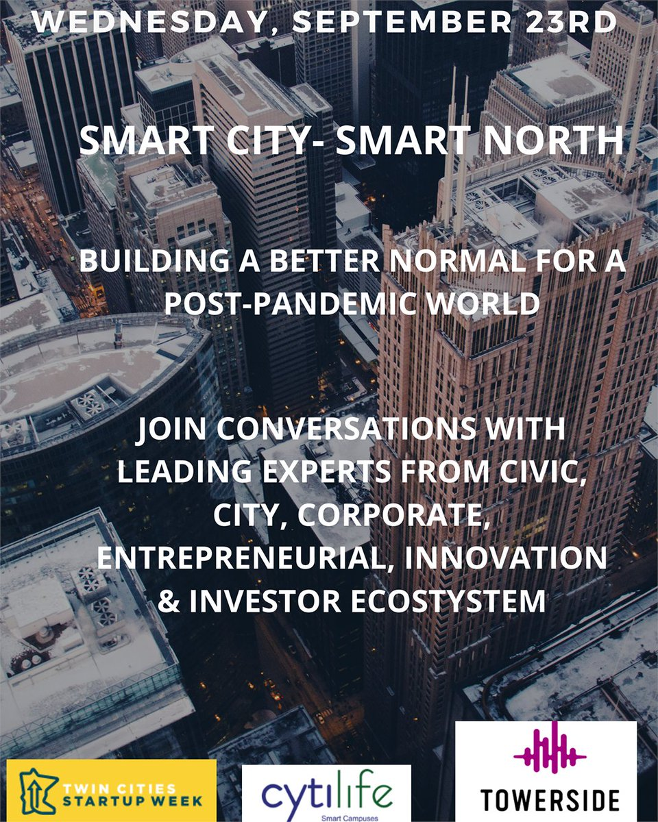 The Smart City Track is TOMORROW! Tune in from 9:30am-5:00pm to learn about building sustainable communities & more.   Explore sessions & register here: https://t.co/9rQbu54PQ0   #TCSW20 #Startups #SmartCity #SmartNorth #FoundersFirst #Minniefy #Cytilife #Towerside #UEL #UMN https://t.co/7BVFgridFi