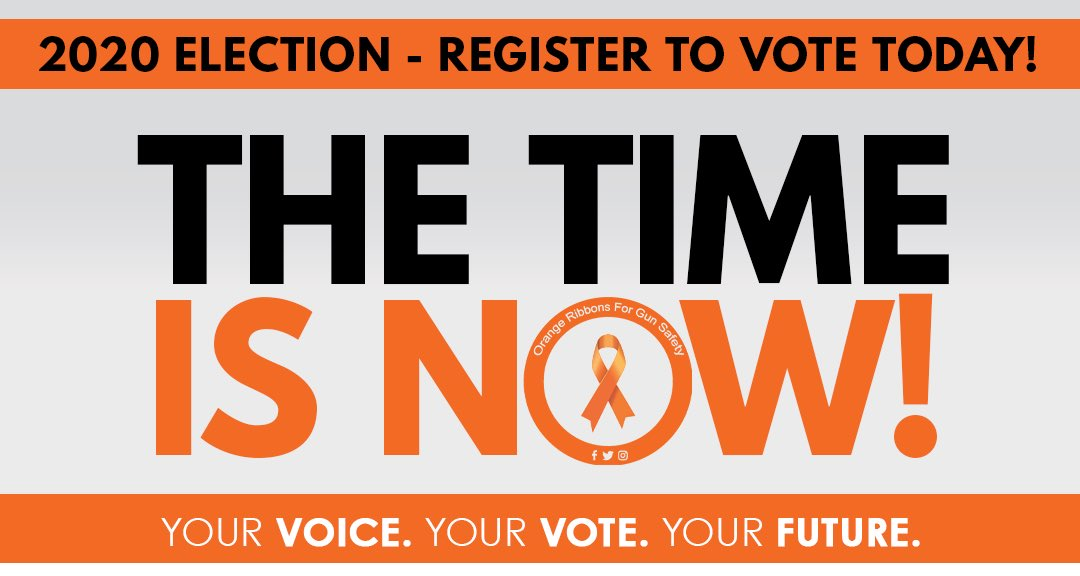 Happy National Voter Registration Day! Make sure your registration is up to date so you can make your voice heard in November. Visit https://t.co/WsodTzurbl for more information- the time is NOW!  #OrangeRibbonsForGunSafety https://t.co/tm2sjmB5CV