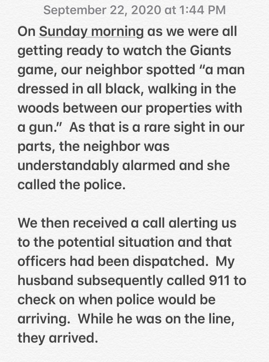 Apparently, rightwing media & trolls have decided that they should target me because my neighbor called the police after seeing a person dressed in black holding a rifle behind my home where I live with my young children and husband. Here is my statement and what really happened. https://t.co/RwnSd9XCs0