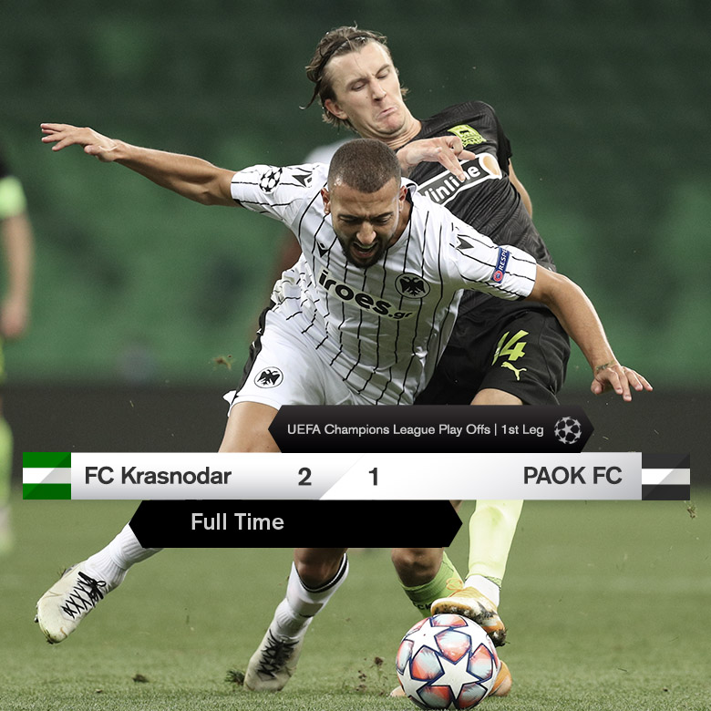 Full Time Fc Krasnodar 2 1 Paok Fc International Uefa Champions League Qualification September 22 2020 Football365