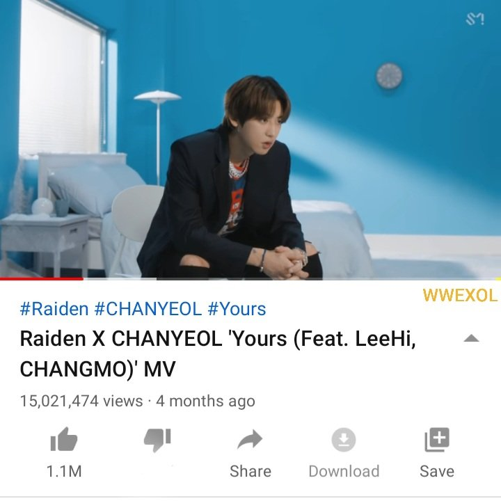 [INFO] Raiden × CHANYEOL 'Yours' MV has surpassed 15 Million views on Youtube 🎥  Views: 15,021,474 🎊 Likes: 1,121,829  🔗https://t.co/TR5z4nG7j1  #찬열 #엑소 #CHANYEOL #EXO @weareoneEXO https://t.co/cfvc9r4eS2