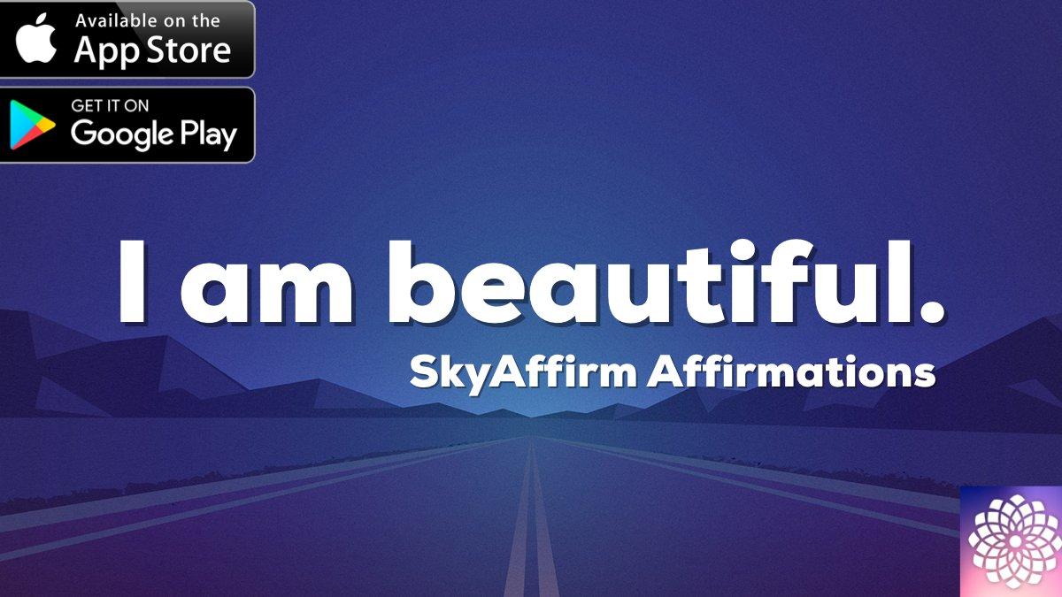 I am beautiful.   SkyAffirm : Affirmations, Meditations and Goals #mind #body #spirit  iOS : https://t.co/KmW55n1O9P Android: https://t.co/FV1FJWEGQC  #affirmations #bestself https://t.co/pDdi8EMNgA