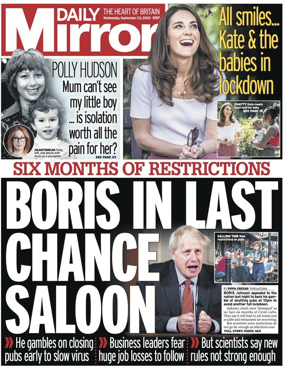 Wednesday's Mirror: Boris in last chance saloon #TomorrowsPapersToday #DailyMirror #Mirror https://t.co/5WfZjlKGl3