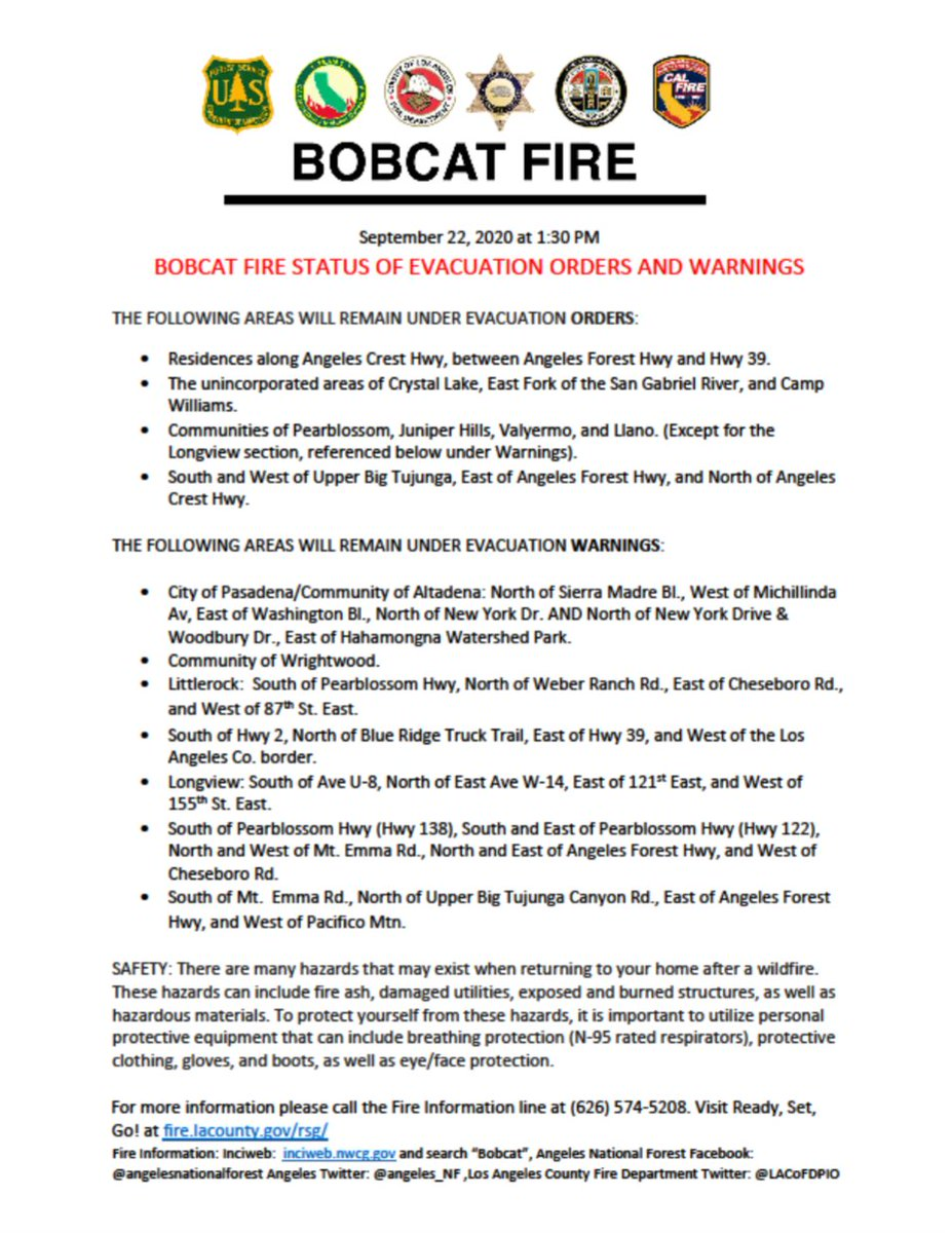 RT A #BobcatFire evacuation WARNING & ORDERS map is available at https://t.co/qVlkZ3xURO