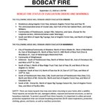 Image for the Tweet beginning: #BobcatFire **Update** The following areas
