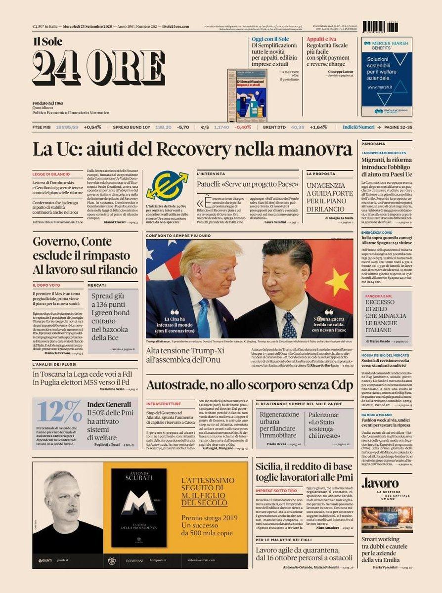 La prima pagina del #Sole24Ore del #23settembre. In apertura #RecoveryFund e #manovra secondo la #Ue. #Conte dopo le #Regionali e il #Referendum. E poi #Autostrade #Trump #Cina #Onu #redditodicittadinanza in #Sicilia #lavoro #superbonus110% #banche #rassegnsstampa #buonalettura https://t.co/arQoWqPiG4
