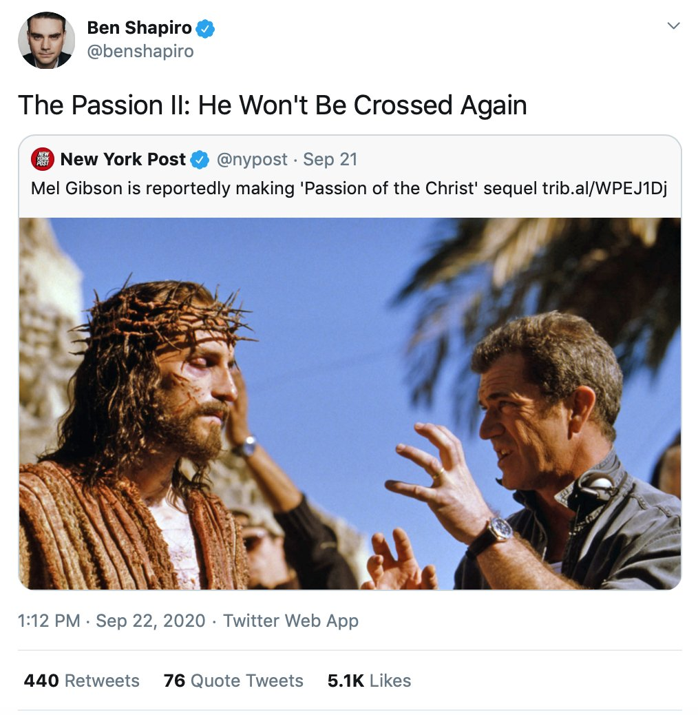 Ben Shapiro making fun of the One 'Bishop' Robert Barron told him was just 'the privileged route to salvation'… @BishopBarron