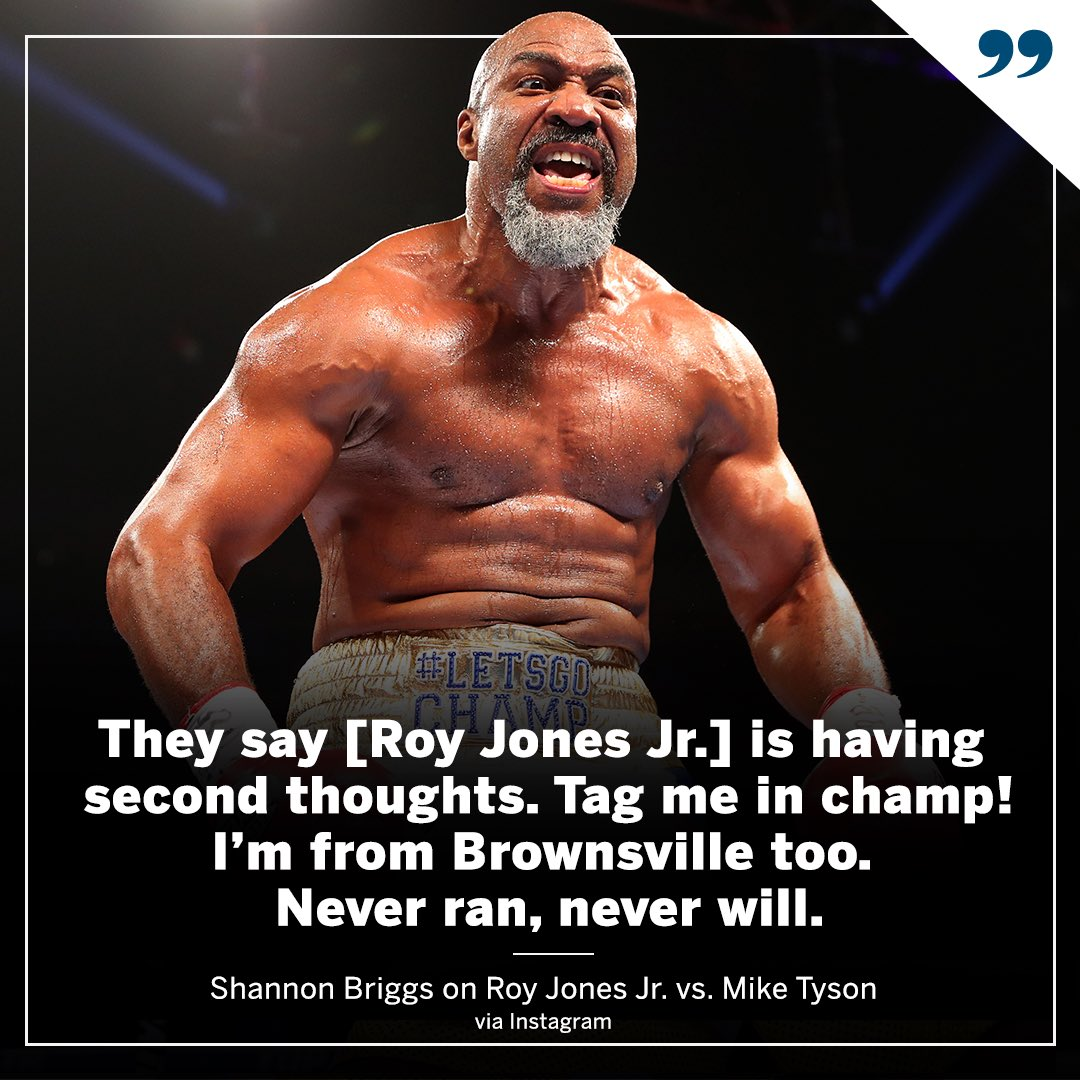 Shannon Briggs says he's ready to step in for Roy Jones Jr. if given the opportunity 👀 https://t.co/cUCMt1VU7k