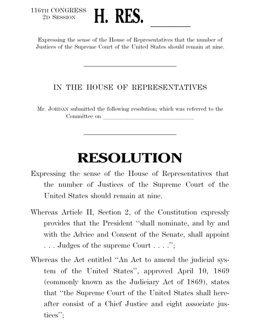 #BREAKING: @JudiciaryGOP just introduced a resolution condemning Democrats' calls to pack #SCOTUS.