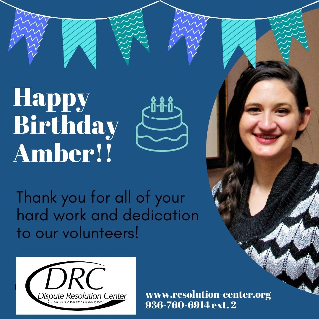 Wishing the happiest of birthdays to our Volunteer Coordinator, Amber!! 🎉🎉 ... https://t.co/b8S5qucFQV 936-760-6914 ... #birthday #celebrate #mediation #onlinemediation #mediateonline #volunteers #volunteer #mediators #community #montgomerycounty https://t.co/dIEITIvUvl
